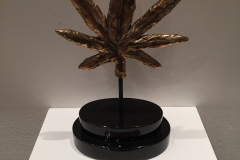 Bronze mounted on black marble